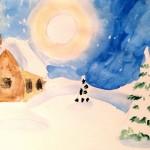 Акварель, зима