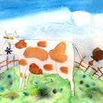 Акварель, корова