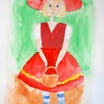 Акварель, красная шапочка