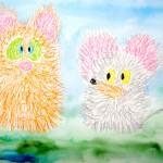 Масляная пастель, мышки