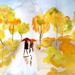 Акварель, дождь