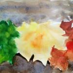 Акварель, осенние листья