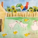 Акварель, птичий двор
