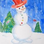 Акварель, снеговик